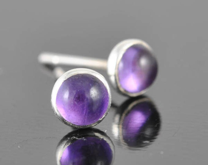 Amethyst earrings, stud earrings, february birthstone earrings, bridesmaid gift, bridal shower, sterling silver earrings, graduation gift