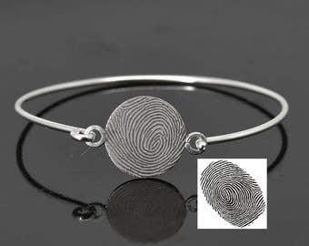 Fingerprint Bangle, Fingerprint Jewelry, Handwriting bangle, Handwriting Jewelry, Stacking Bangle, Engraved Bangle, Personalized Jewelry
