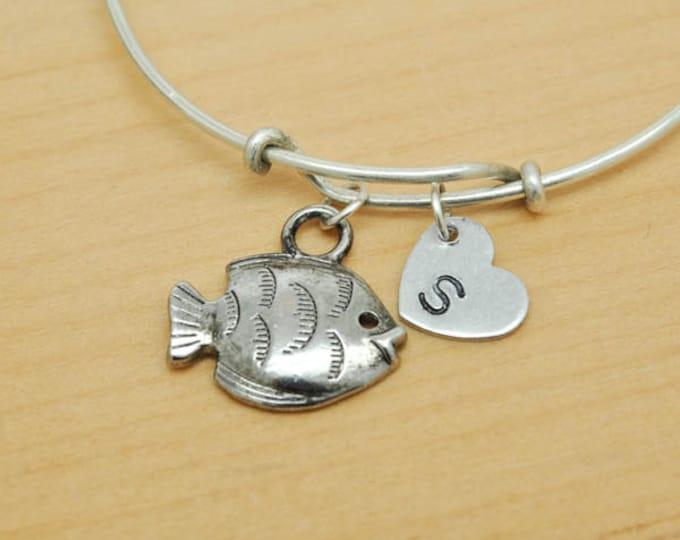 Fish Bangle, Sterling Silver Bangle, Fish Bracelet, Bridesmaid Gift, Personalized Bracelet, Charm Bangle, Monogram, Initial Bracelet