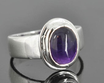 Amethyst ring, sterling silver ring, rose cut, gemstone ring, round, purple, february birthstone, one of a kind