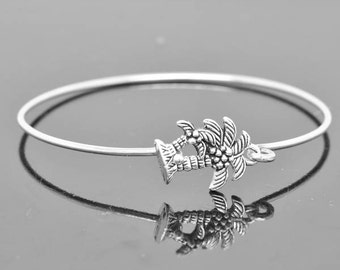 Palm Tree Bangle, Sterling Silver Bangle, Palm Tree Bracelet, Stackable Bangle, Charm, Bridesmaid Bangle, Bridesmaid jewelry, Bridal