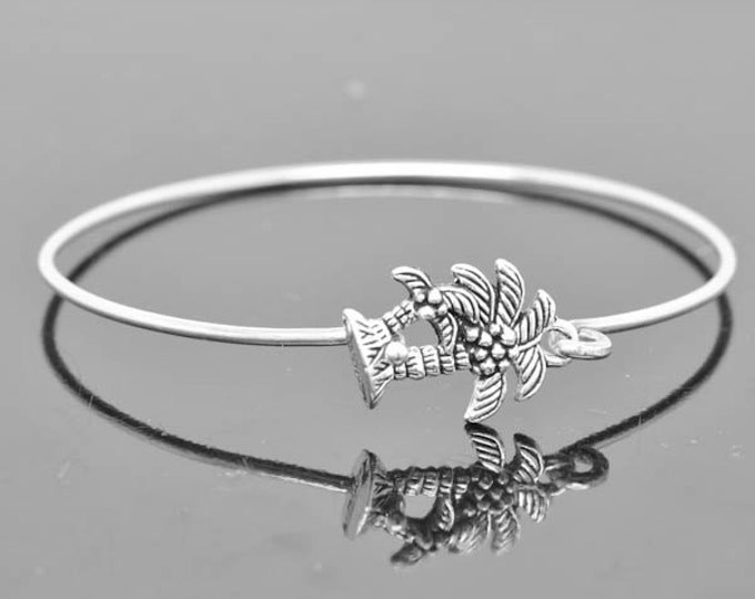 Palm Tree Bangle, Sterling Silver Bangle, Palm Tree Bracelet, Stackable Bangle, Charm, Bridesmaid Bangle, Bridesmaid jewelry, Bridal