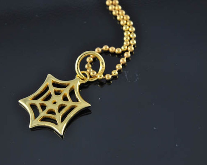 spider web necklace, halloween spider web, spider necklace, gold plated pendant, scary, skull, cool, halloween jewelry, sterling silver