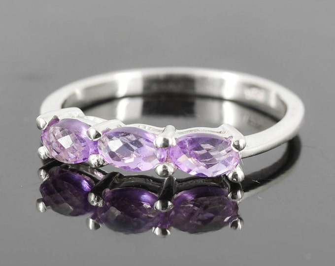 Amethyst Ring, Purple, Oval, Birthstone Ring, February, Gemstone Ring, Sterling Silver Ring, Solitaire Ring, Statement Ring