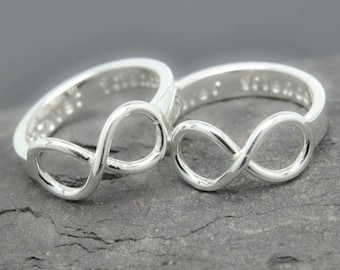 Infinity ring, promise ring, personalized ring, best friend ring, mother daughter ring, sisters ring, heart ring, Bridesmaid Gift, Engraved