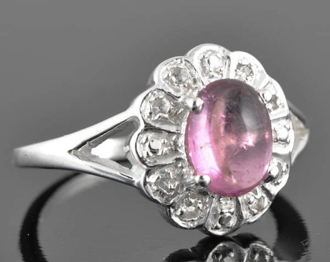 Tourmaline ring, sterling silver ring, gemstone ring, pink, oval, october birthstone