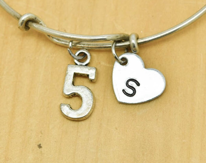 Number Five Bangle, Sterling Silver Bangle, 5 Bracelet, Bridesmaid Gift, Personalized Bracelet, Charm Bangle, Monogram,Initial Bracelet