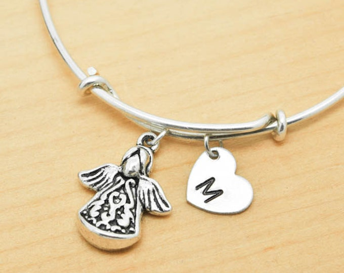 Angel Bangle, Sterling Silver Bangle, Angel Bracelet, Expandable Bangle, Personalized Bracelet, Charm Bangle, Monogram, Initial Bracelet