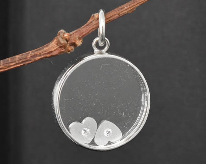 floating heart necklace, sterling silver necklace, mother daughter, best friend, sisters, necklace
