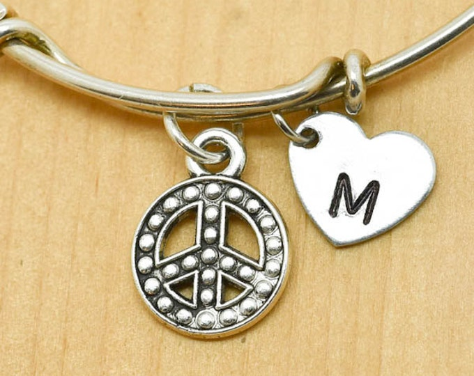 Peace Bangle, Sterling Silver Bangle, Adjustable Bangle, Bridesmaid Gift, Initial Bangle, Personalized Bangle, Charm Bangle, Monogram
