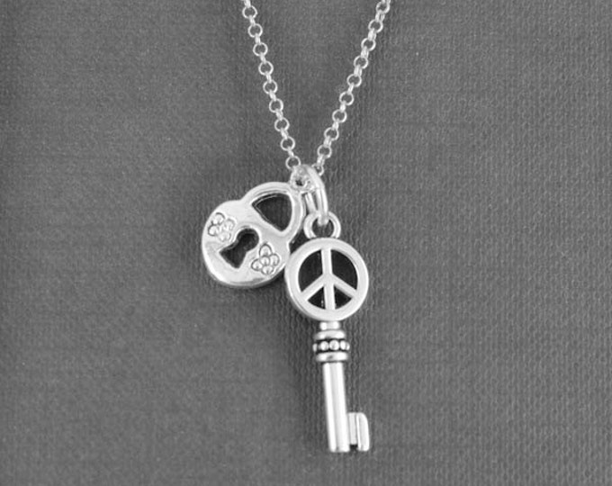 Heart Necklace, Key Necklace, Locket Necklace, Charm Necklace, Sterling Silver Necklace, love necklace, Peace Necklace