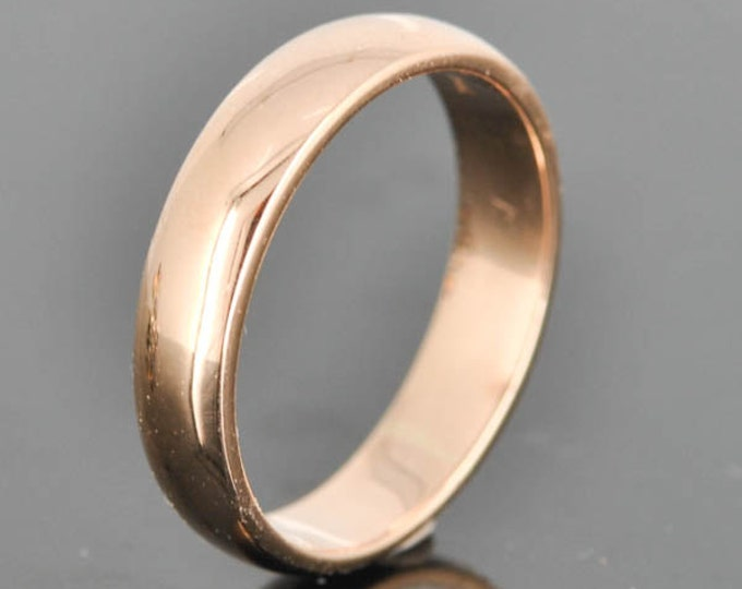14K Rose Gold Ring, 4mm x 1.5mm, Wedding Band, Wedding Ring, Rose Gold Band, Half Round Band, Size up to 5.75