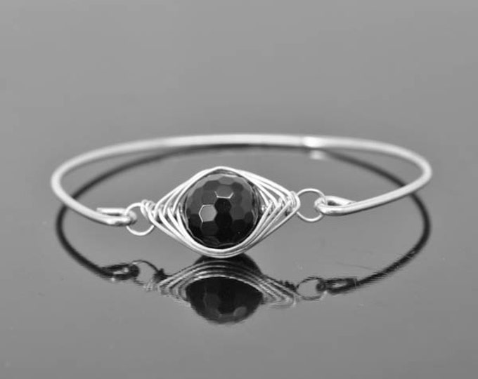Onyx Bangle, Onyx Jewelry, Onyx Bracelet, Sterling Silver Bangle, Sterling Silver Bracelet