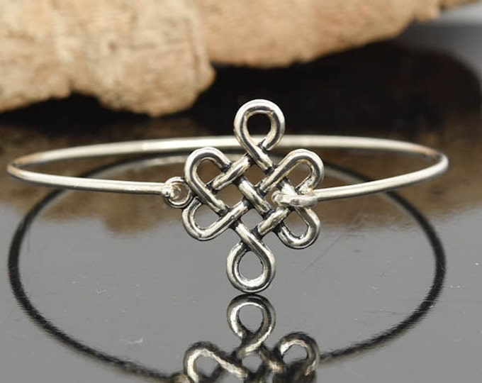 Celtic Knot Bangle, Sterling Silver Bangle, Celtic Knot Bracelet, Stackable Bangle, Charm, Bridesmaid Bangle, Bridesmaid jewelry