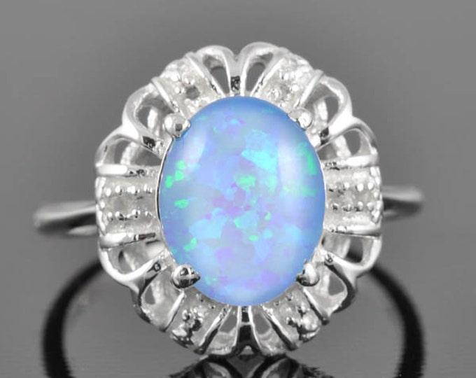 Opal ring, sterling silver ring, oval, blue, october birthstone, gemstone ring