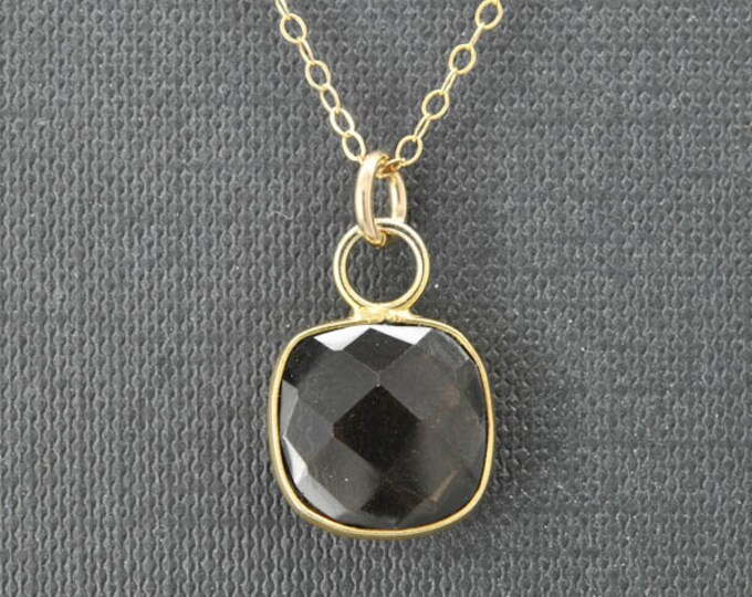 Smoky quartz Necklace, 14k Gold Filled Chain, Bezel set Necklace, Gemstone Necklace, Smoky quartz pendant