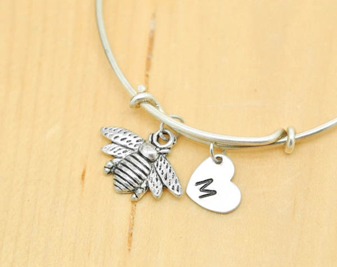 Bee Bangle, Sterling Silver Bangle, Bee Bracelet, Expandable Bangle, Personalized Bracelet, Charm Bangle, Initial Bracelet, Bridesmaid gift