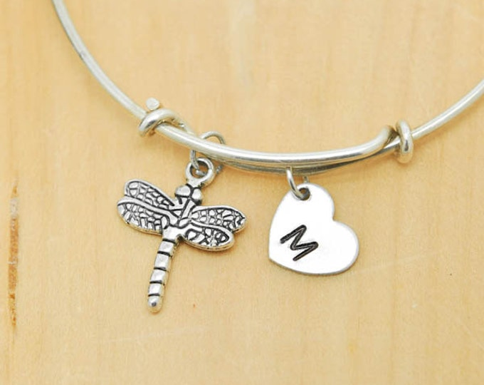 Dragonfly Bangle, Sterling Silver Bangle, Dragonfly Bracelet, Bridesmaid Gift, Personalized Bracelet, Charm Bangle, Initial Bracelet