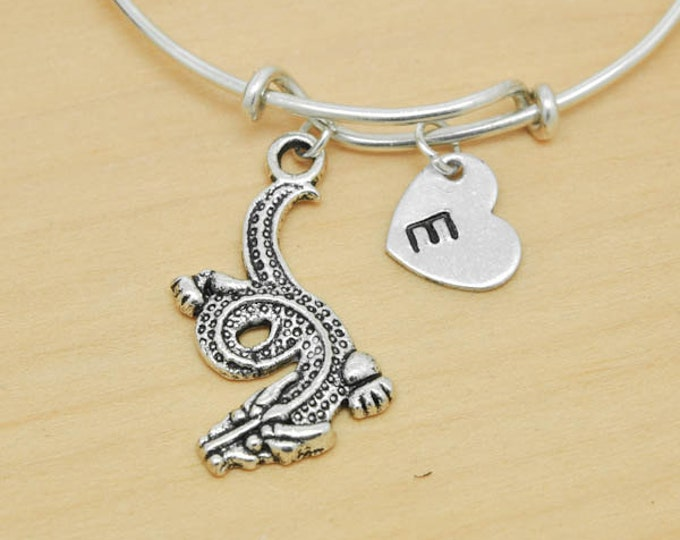 Dragon Bangle, Sterling Silver Bangle, Dragon Bracelet, Expandable Bangle, Personalized Bracelet, Charm Bangle, Monogram, Initial Bracelet