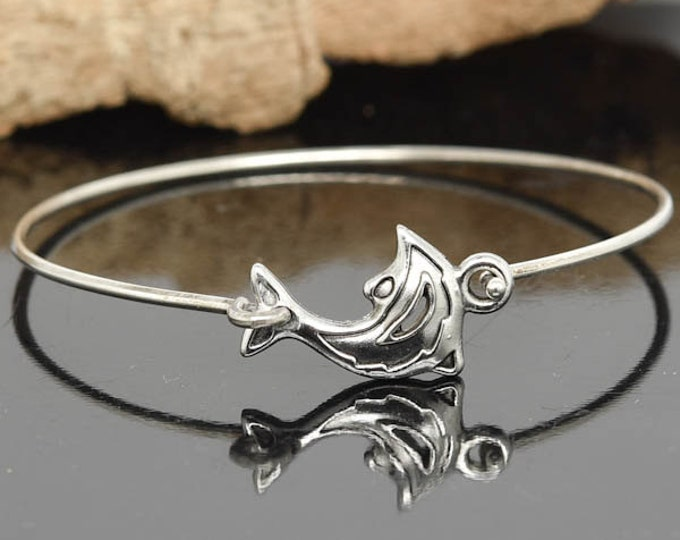 Dolphin Bangle, Sterling Silver Bangle, Dolphin Bracelet, Stackable Bangle, Charm, Bridesmaid Bangle, Bridesmaid jewelry, Bridal Bracelet