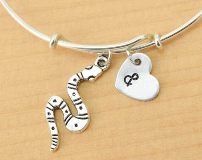 Snake Bangle, Sterling Silver Bangle, Snake Bracelet, Bridesmaid Gift, Personalized Bracelet, Charm Bangle, Monogram, Initial Bracelet