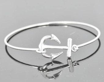 Anchor Bracelet, Anchor Bangle, Sterling Silver Bracelet, Sterling Silver Bangle, Anchor Jewelry, Cute Bangle