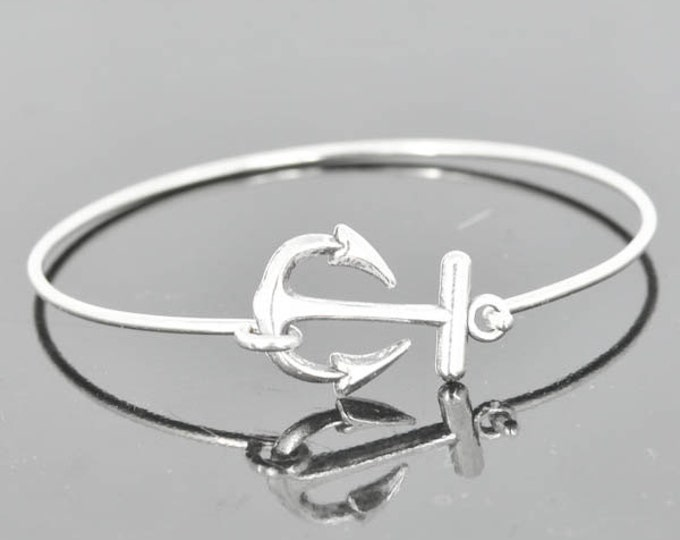 Anchor Bracelet, Anchor Bangle, Sterling Silver Bracelet, Sterling Silver Bangle, Anchor Jewelry, Cute Bangle