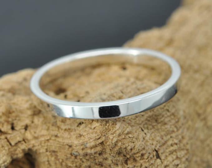 14K palladium white gold ring, 2mm x 1.5mm, flat, wedding band, wedding ring, square, mens ring,  size up to 6