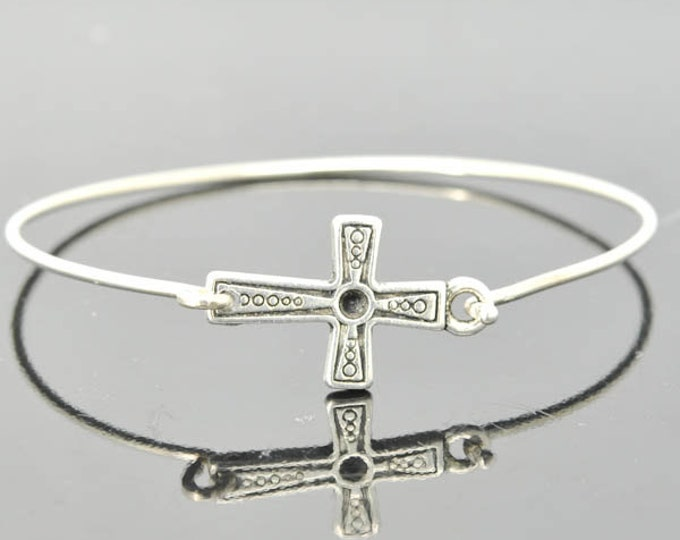 Cross Bangle, Sterling Silver Bangle, Cross Bracelet, Stackable Bangle, Charm Bangle, Bridesmaid Bangle, Bridesmaid jewelry, Bridal Bracelet