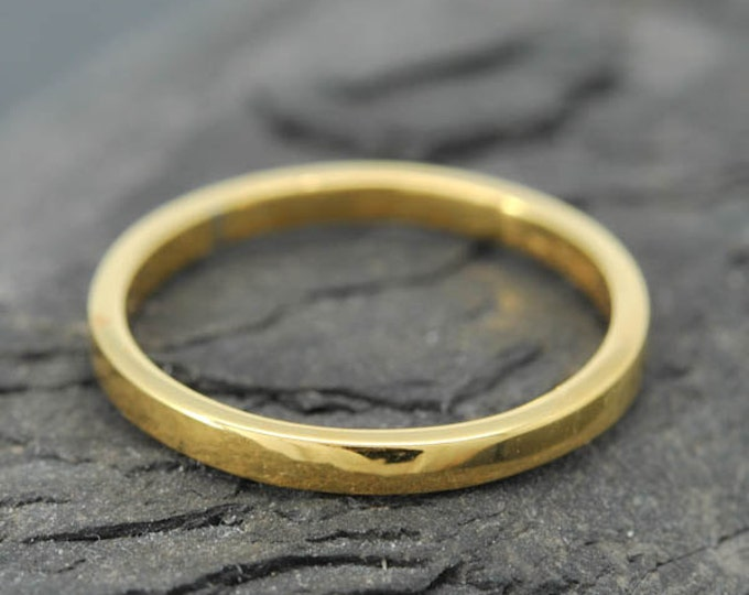 18k Yellow Gold, 1mm x 1mm, Wedding Band, Square Band, Stacking Ring, Flat Band, Size up to 9