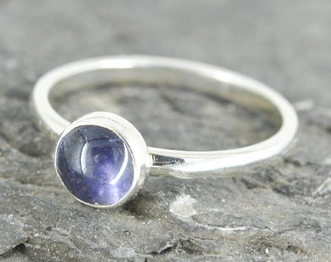 Iolite ring, 6mm, gemstone ring, stacking ring, september birthstone ring, personalized ring, cocktail ring, bridesmaid gift, best friend