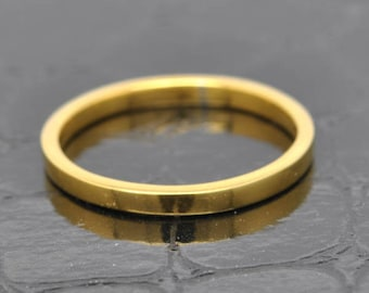 14K Yellow Gold Ring, 2mm x 1mm, Wedding Band, Wedding Ring, Rose Gold Band, Flat Band, Square Band, Size up to 12
