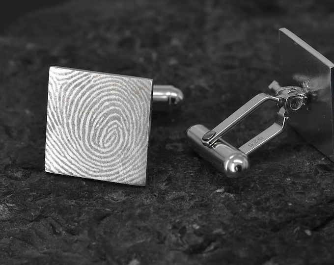 Fingerprint Cufflinks, Fingerprint Jewelry, Handwriting Cufflinks, Handwriting Jewelry, Personalized Cufflinks, Engraved Jewelry, Custom