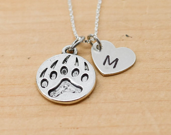 Paw Necklace, Paw Charm, Paw Pendant, Initial Necklace, Personalized Necklace, Sterling Silver Necklace, Charm Necklace, Bridesmaid Gift