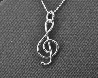 clef necklace, sterling silver necklace, mother daughter, best friend, sisters, necklace, clef pendant