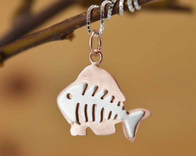 Fish bone Pendant, Fish bone Necklace, Fish Bone Jewelry, Bone Charm, 925 Sterling Silver, Bridesmaid Gift, Best Friend Gift, Gift for her