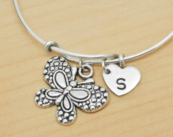 Butterfly Bangle, Sterling Silver Bangle, Butterfly Bracelet, Expandable Bangle, Personalized Bracelet, Charm Bangle, Initial Bracelet
