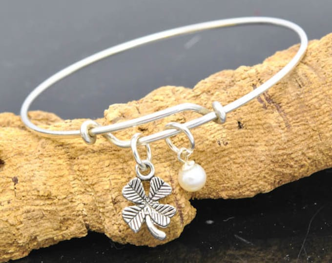 Clover Bangle, Sterling Silver Bangle, Clover Bangle, Bridesmaid gift, Initial Bangle, Personalized Bangle, Charm Bangle, Monogram