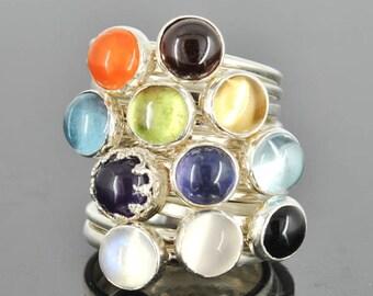 Birthstone ring,  Gemstone Ring, 6mm, personalized, bridesmaid, gift, stacking, bridal, jewelry, ring, Birthstone