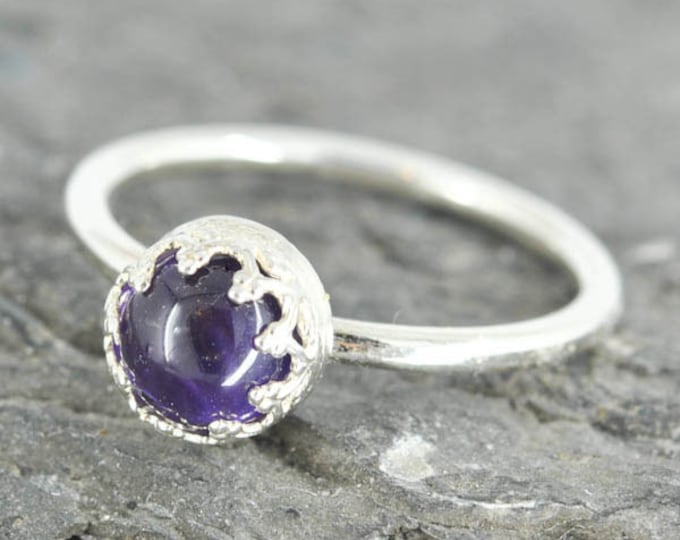 Amethyst ring, 6mm, flower bezel, february birthstone, stacking ring, gemstone ring, sterling silver ring