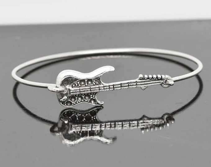 Guitar Bangle, Sterling Silver Bangle, Guitar Bracelet, Stackable Bangle, Charm, Bridesmaid Bangle, Bridesmaid Jewelry, Bridal Bracelet