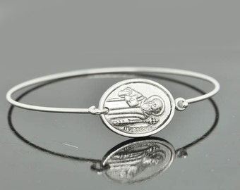 St Benedict Bangle, St Benedict Jewelry, St Benedict Bracelet, Sterling Silver Bangle, Bracelet, Christian Jewelry, Catholic Jewelry