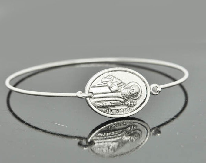 St Benedict Bangle, St Benedict Jewelry, St Benedict Bracelet, Sterling Silver Bangle, Bracelet, Christian Jewelry, Catholic Jewelry