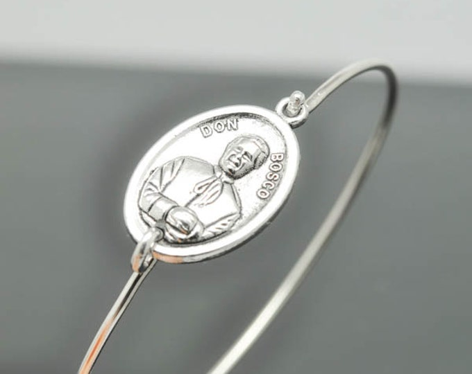 Don Bosco Bangle, John Bosco Jewelry, John Bosco  Bracelet, Sterling Silver Bangle, Bracelet, Christian Jewelry, Catholic Jewelry