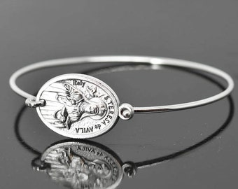 St Teresa de Avila Bracelet Bangle, St Teresa de Avila Jewelry, Catholic Jewelry, Sterling Silver Bangle Bracelet, Medal Bracelet bangle