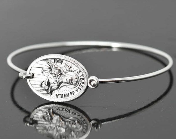 St Teresa de Avila Bracelet Bangle, St Teresa de Avila Jewelry, Catholic Jewelry, Sterling Silver Bangle Bracelet, Medal Bracelet bangle