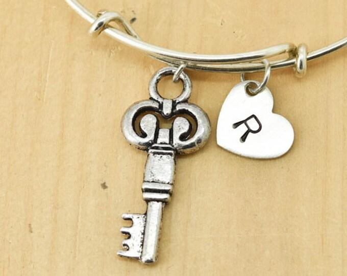 Key Bangle, Sterling Silver Bangle, Adjustable Bangle, Bridesmaid Gift, Initial Bangle, Personalized Bangle, Charm Bangle, Monogram Bangle