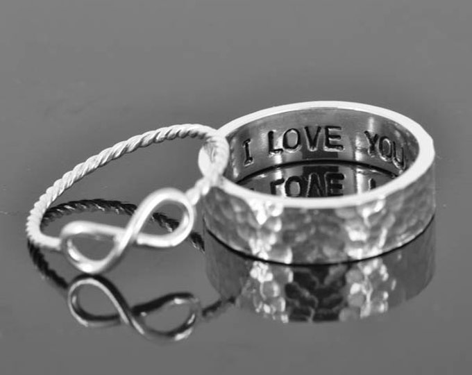 His and her, promise, personalized, secret message, 3mm, 4mm, 5mm, mens ring, wedding, band, ring, sterling silver, engrave