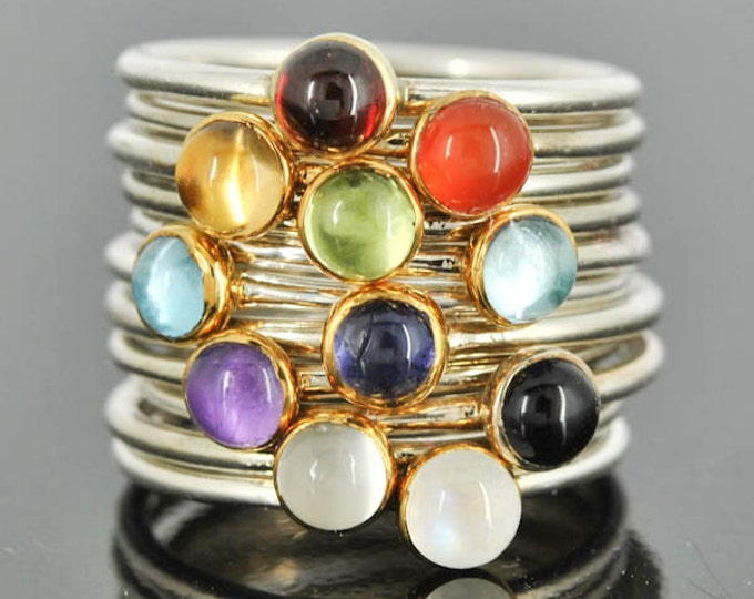 Stacking Ring, Gold bezel, Birthstone Ring, Personalized Ring, Gold Ring, Sterling Silver Ring, Midi Ring, Knuckle ring