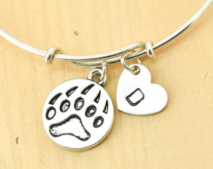 Bear Paw Bangle, Sterling Silver Bangle, Bear Paw Bracelet, Bridesmaid Gift, Personalized Bracelet, Charm Bangle, Initial Bracelet